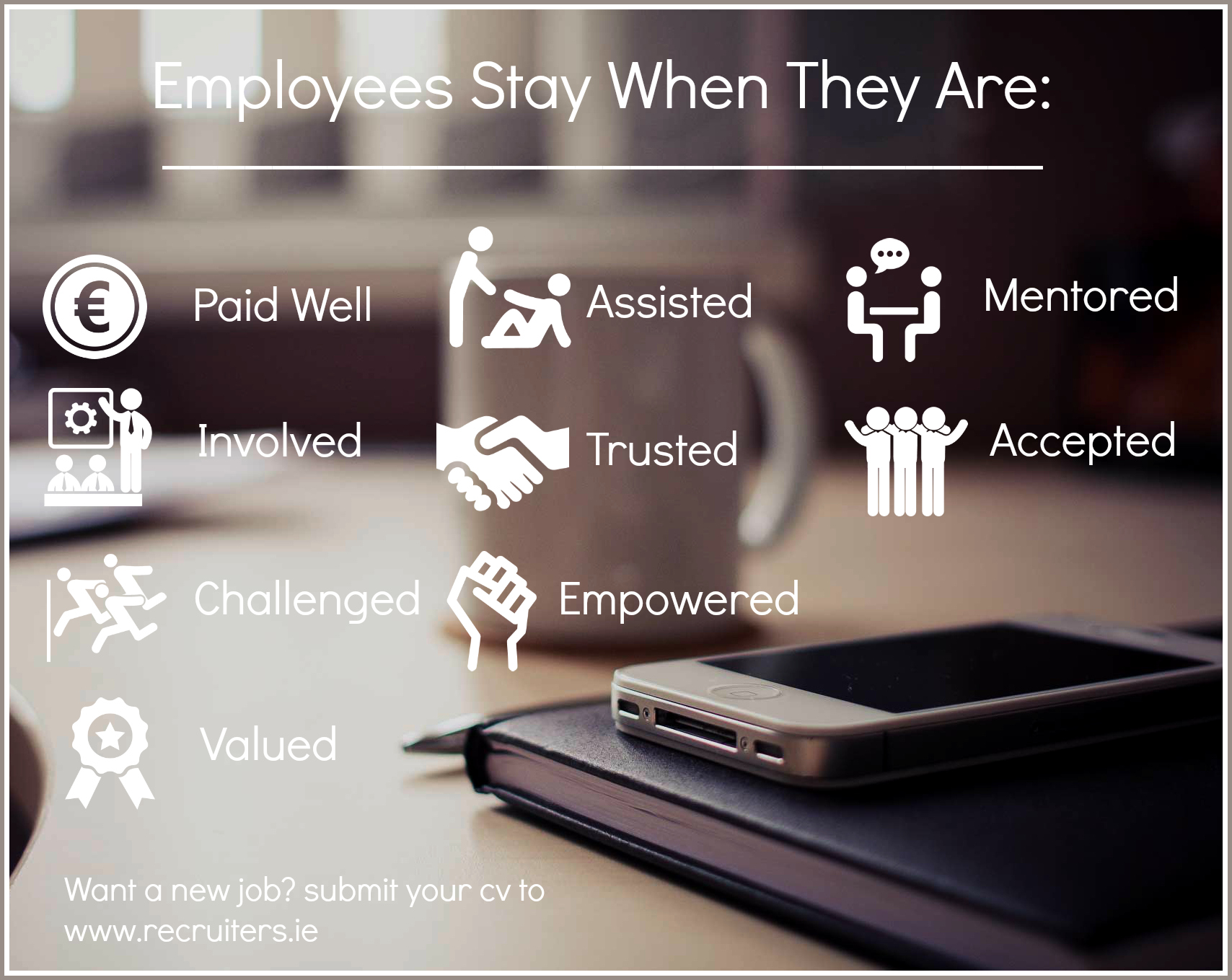 Image listing reasons employees stay with a company